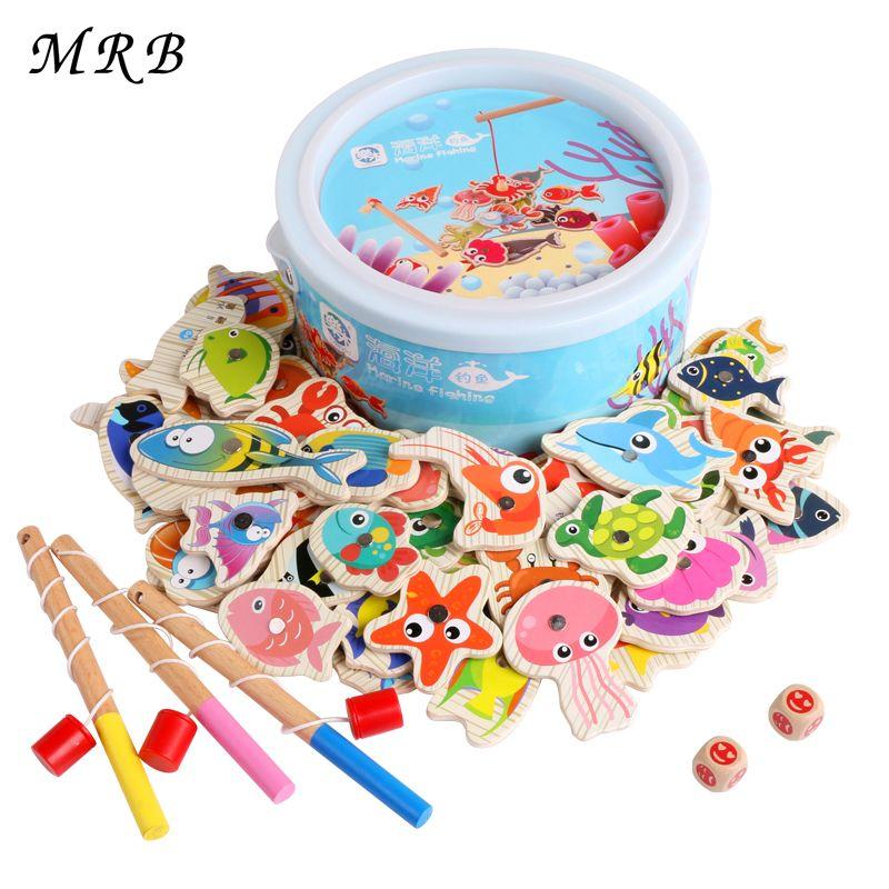 Logwood 60pcs Set Magnetic Fishing Toy Game Kids 3 Rod 3D <font><b>Fish</b></font> Baby Educational Toys Outdoor Fun Kids Toy