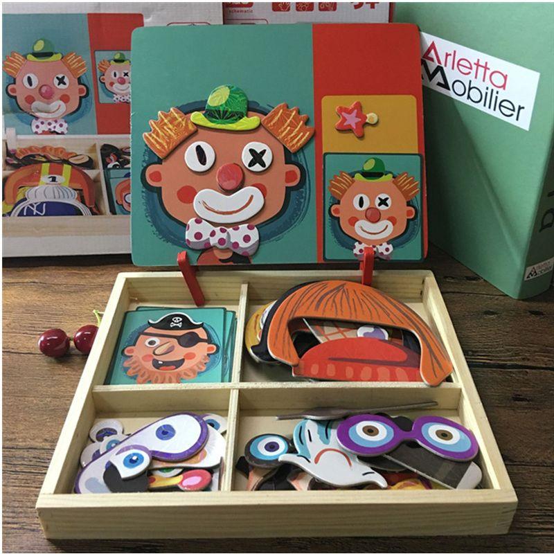 Puzzle magnétique En Bois Jouet En Bois Puzzles Pour Les Enfants Apprentissage Précoce Jouets Éducatifs Cognitifs Semblant Jouer Jeu de société Enfants Cadeau