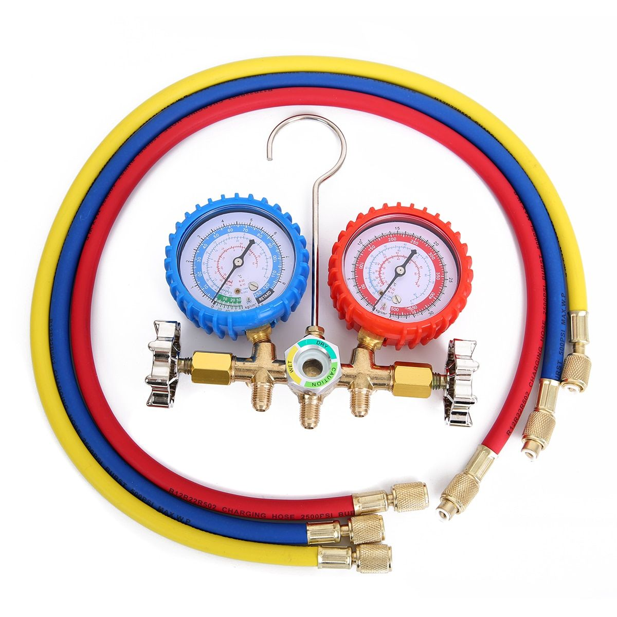1pc Alloy Manifold Gauge Durable Pressure Gauges With Valve For Air Condition Refrigeration Maintenance