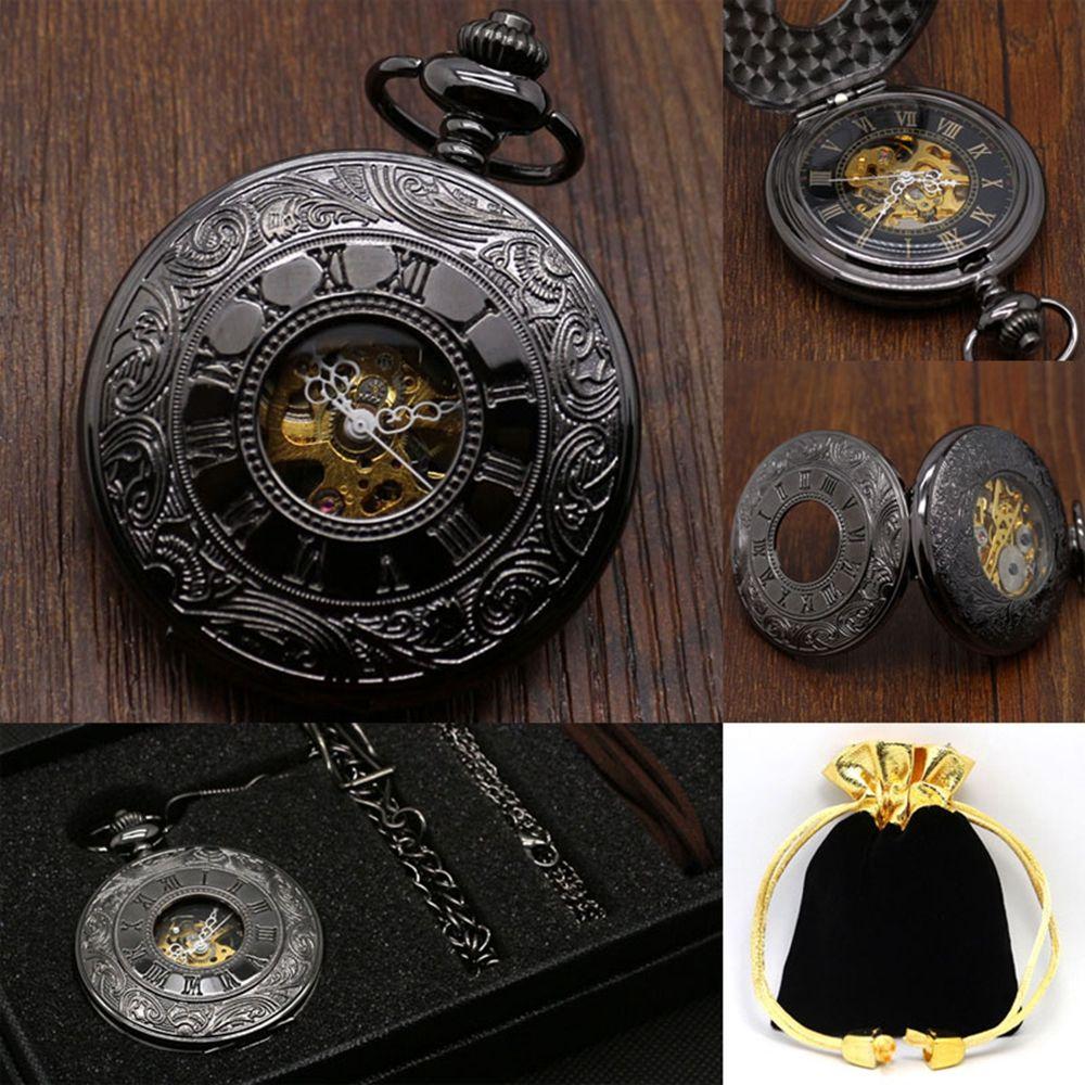 Luxury Hollow Caving Pocket Watch Set Vintage Black Full Hunter Design Mechanical Clock Necklace Pendant Clock Gift Bag Box