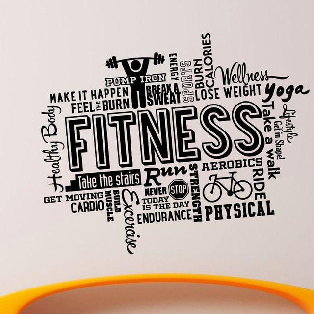 Gymnase Nom Autocollant Fitness Haltères Crossfit Décalque de musculation Affiches Vinyle Stickers Muraux Parede Décoration Murale Gym Autocollant