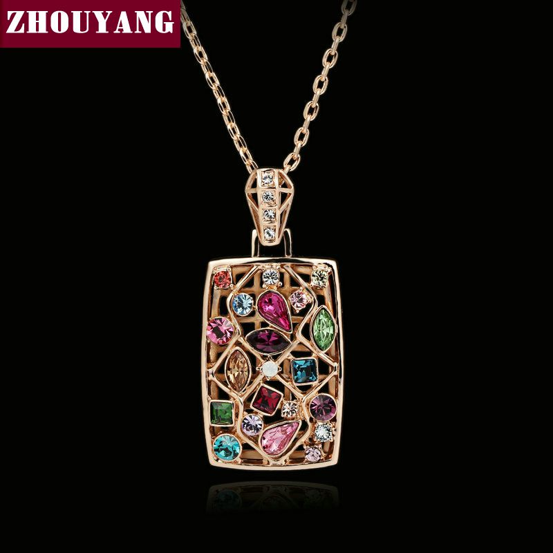 ZHOUYANG Top Quality ZYN034 Multicolour Necklace Rose Gold Color Fashion Jewelry Nickel Free Pendant Austria Crystal