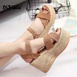 Dijigirls verano hebilla Sandalias de mujer Velvet flock moda boca de los pescados plataforma del alto talón abierto toes mujeres Sandalias Zapatos