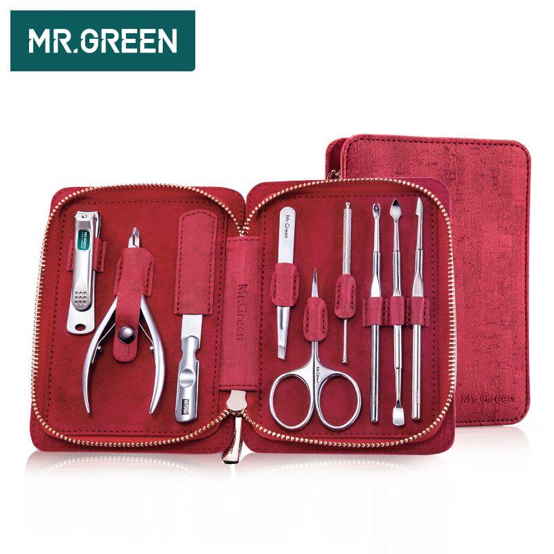 MR. GREEN 9 en coupe-ongles professionnel en acier inoxydable ciseaux kit de toilettage art cuticules outils utilitaires coupe-ongles ensemble de manucure