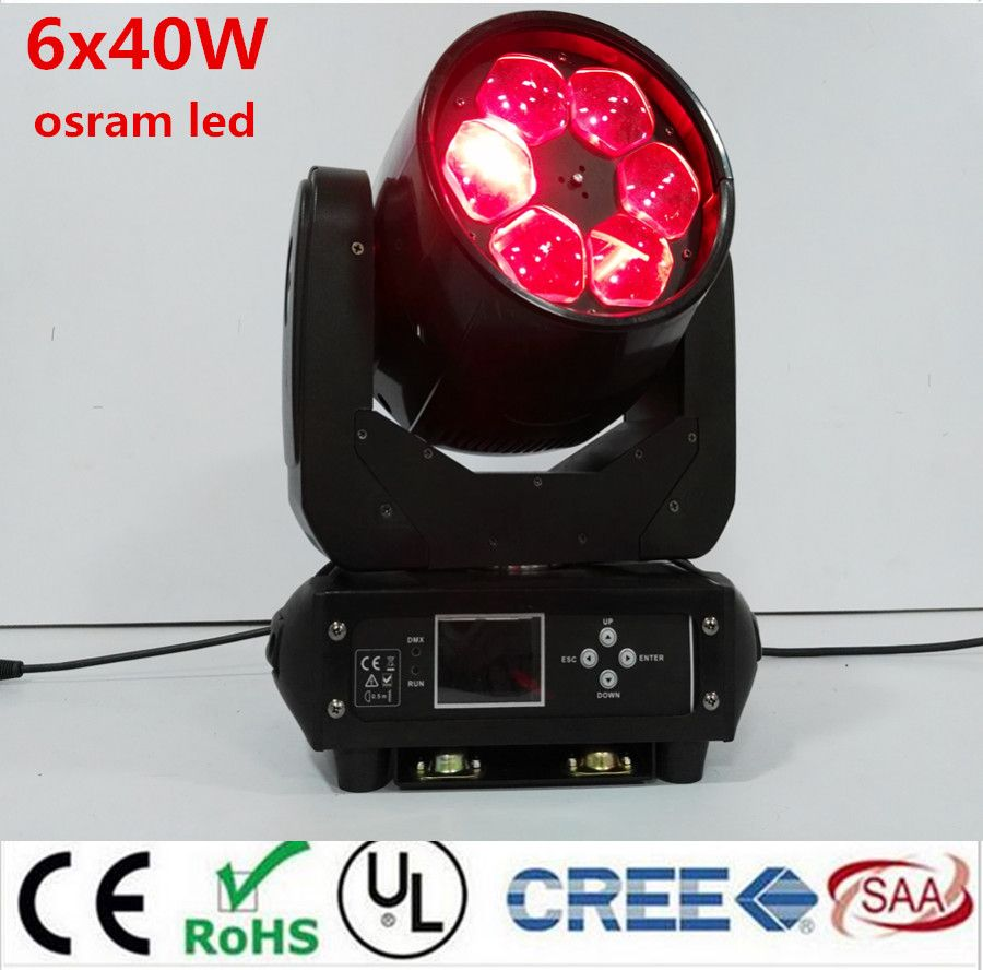 LED Super Beam 6x40W rgbw 4in1  LED ZOOM moving head beam light bee eye for Bar effect led stage lighting dmx dj lights