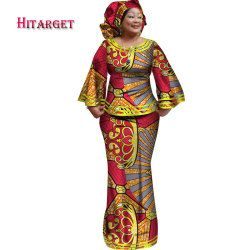 Hitarget 2017 New African Loose Kanga Dresses for Women Dashiki Traditional 100 Cotton Top Skirt Set of 3 pieces Clothing WY2372