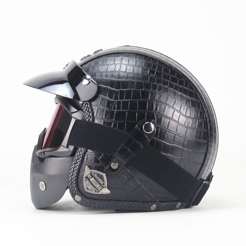 Free shipping PU Leather Harley Helmets 3/4 Motorcycle Chopper <font><b>Bike</b></font> helmet open face vintage motorcycle helmet with goggle mask