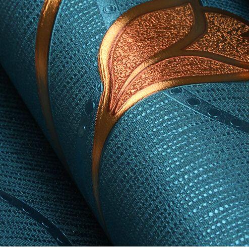 Moderne Luxus 3D Relief Tapete PVC Wasserdichte Wohnzimmer Schlafzimmer Hintergrund Tapete Floral Wandpapierrolle Blau Khaki