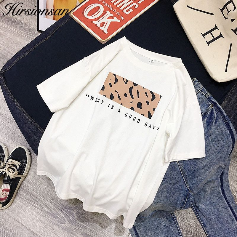 Hirsionsan Leopard Print T shirts Women 2019 Spring Summer Hot Tees Casual O-Neck Short Sleeve Harajuku Cool T-shirt Female Tops