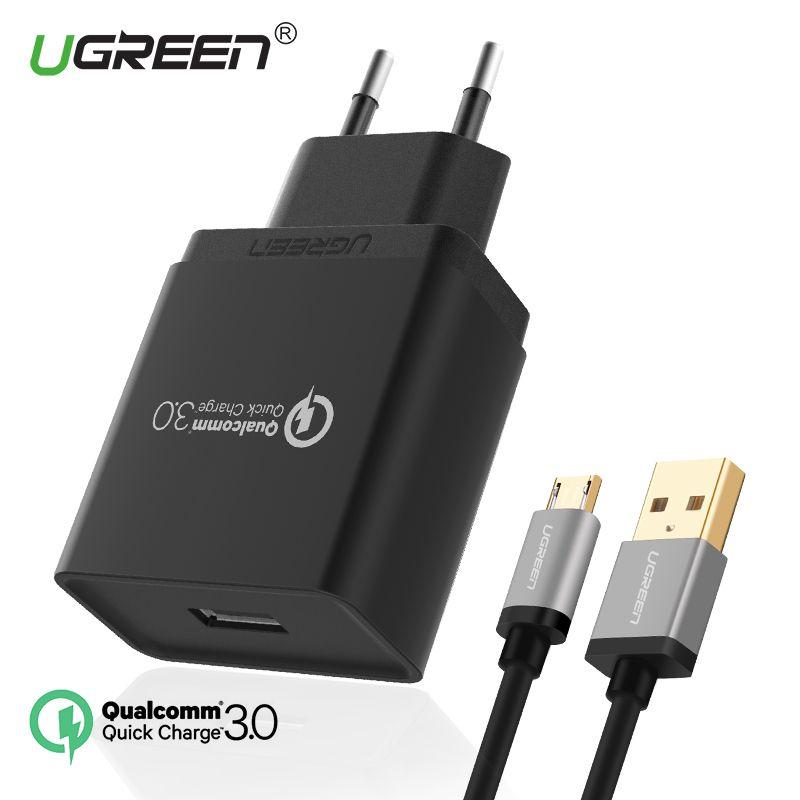 Ugreen Rapide Chargeur 3.0 USB Chargeur 18 W Rapide Mobile Téléphone Chargeur (Charge rapide 2.0 Compatible) USB chargeur pour Samsung Xiaomi