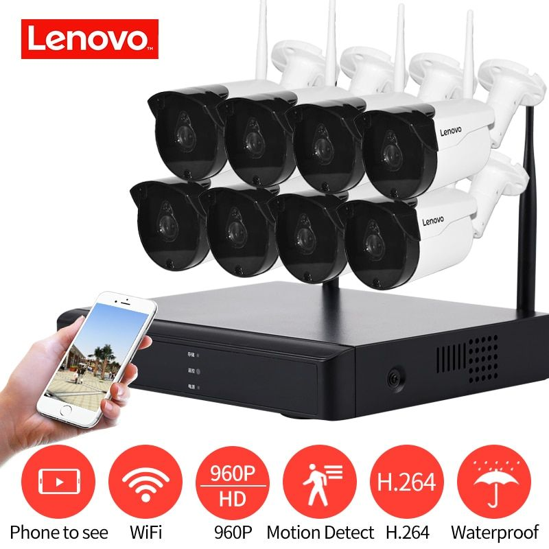 LENOVO Surveillance System CCTV System 960P HDMI AHD CCTV DVR 8PCS 1.3 MP IR Outdoor Security Camera 1280 TVL Camera Surveil