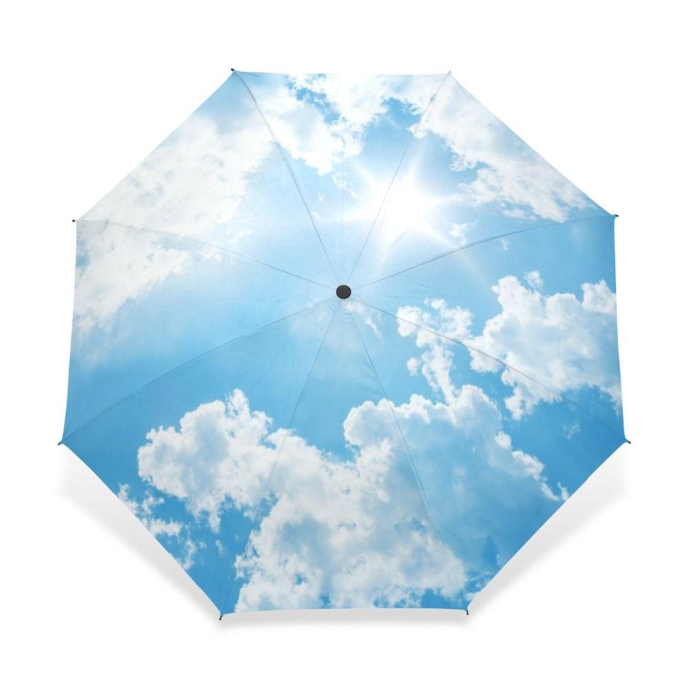 2018 Creative Mode De Luxe Trois Pliant Hommes Parapluie Ciel Kazbrella Coupe-Vent Soleil Pluie Femmes Parapluie Acceptons la Conception Sur Mesure
