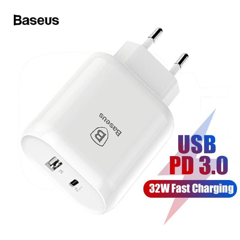 Baseus 32 W Typ C PD 3,0 Schnelle Lade USB Ladegerät Für iPhone Xs Samsung Xiaomi EU Stecker Adapter 5 v/3A Typ-c Wand USB PD Ladegerät