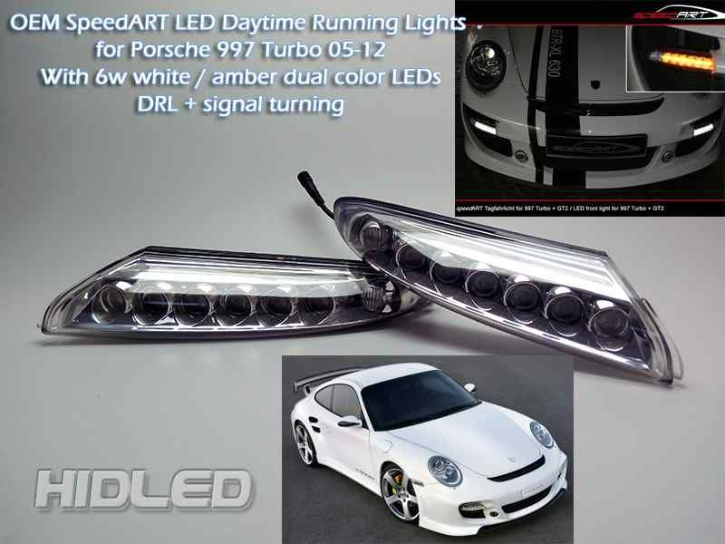 LED Bumper DRL Daytime Running Lights Lamp White & Amber Dual Color DRL With Signal Turning For 07-12 911 997 GT2 Turbo