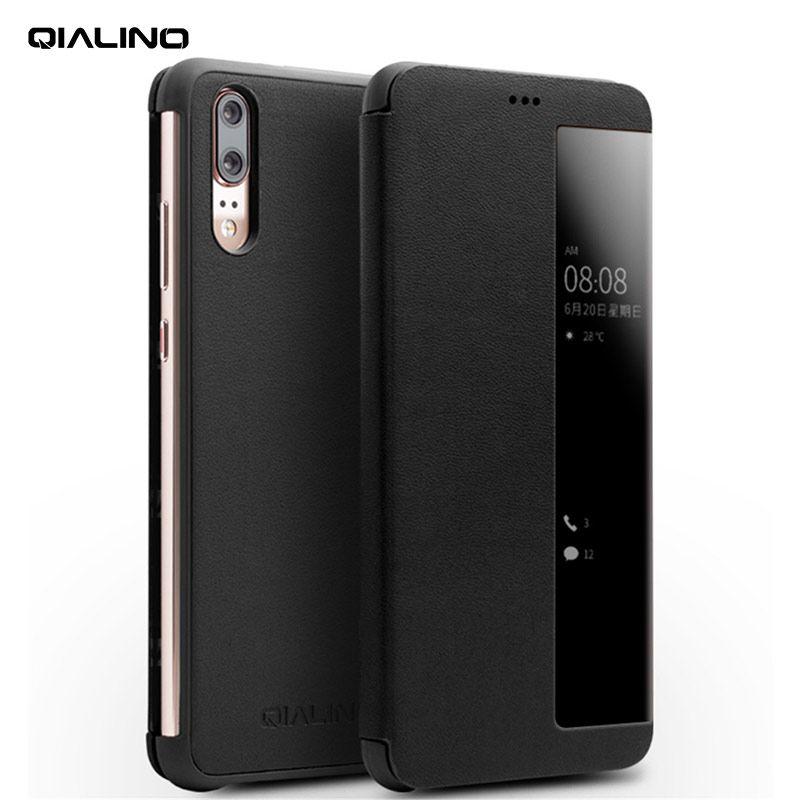 QIALINO Echtes Leder Mode Telefon Abdeckung für Huawei Ascend P20 Pro Schlaf Wake Up Funktion Smart View Flip Fall für huawei P20