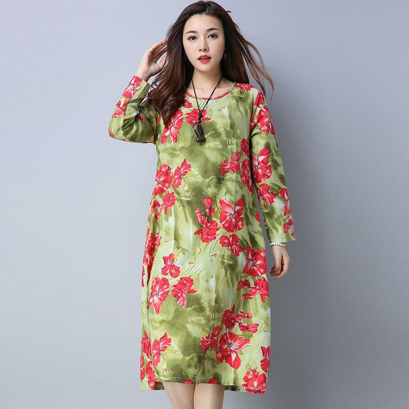 ilstile 2017 Retro Women Long Sleeve Floral Print Long Dress Casual Loose Cotton Linen Dress Kaftan Plus Size M-XXL Autumn NEW