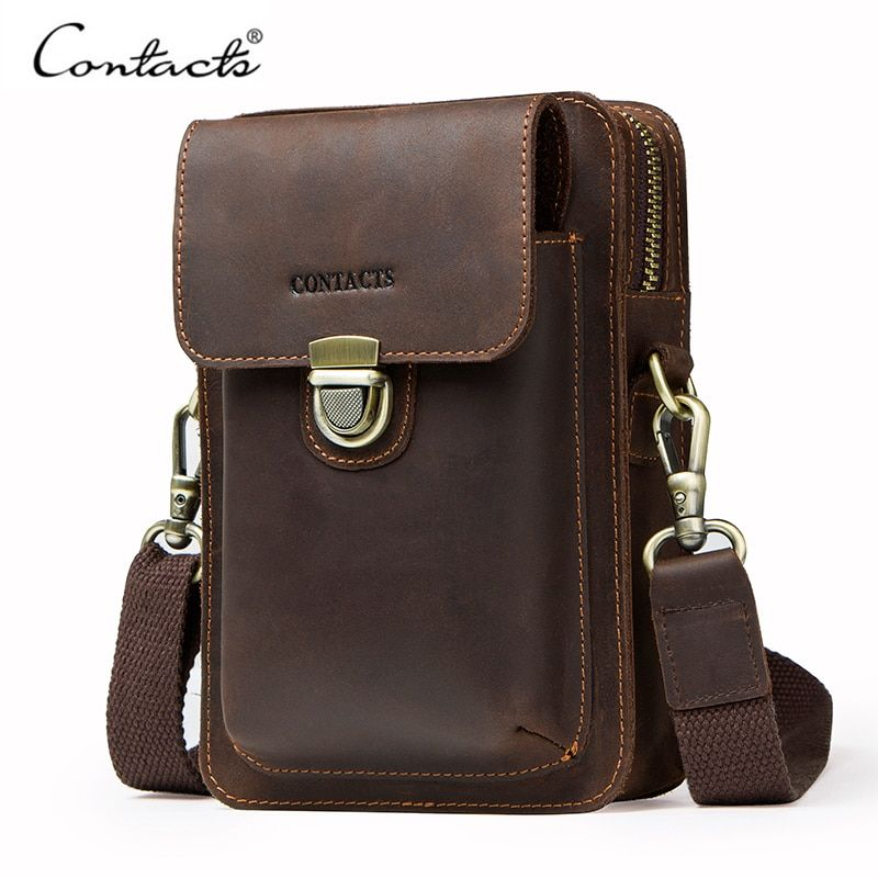 Top Quality Men Waist <font><b>Pack</b></font> Genuine Leather Vintage Travel Cell Phone Bag With Zipper Pocket Card Holder For Male Shoulder Bag