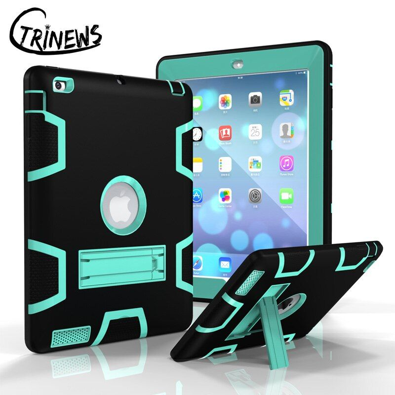 CTRINEWS Case For Apple iPad 4 3 2 Armor <font><b>Shockproof</b></font> Heavy Duty Silicone Hard Stand Cover For iPad 2 Tablet PC Protective Case