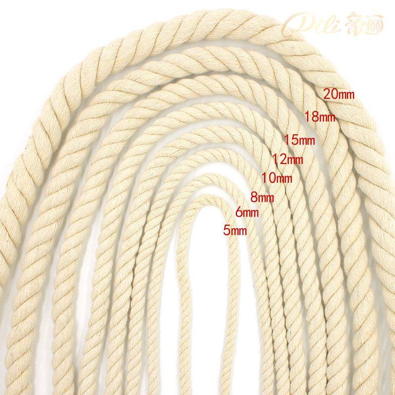 Corde en coton Beige 5mm-20mm 100% cordons épais en coton pour accessoires décoratifs faits à la main