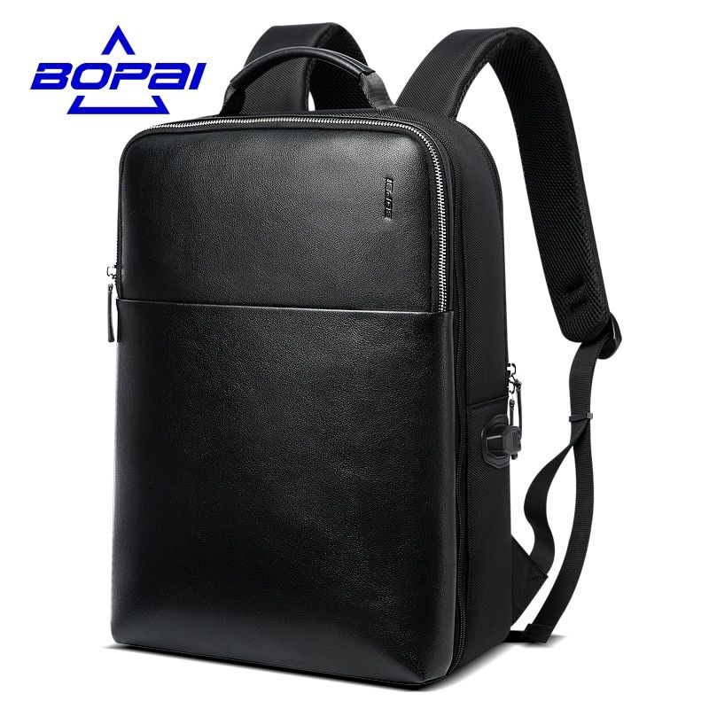 BOPAI Large Capacity Men Travel Bags Detachable 15.6inch Laptop Backpack with Main Bag for Men Business Travel Leather back pack