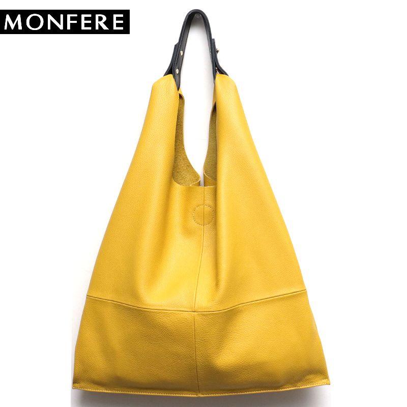 MONFERE Casual Women Hobo Bag Soft Genuine Cow Leather Fashion Shoulder Bags Female Large Tote Bucket Shopping Handbag&Liner Bag
