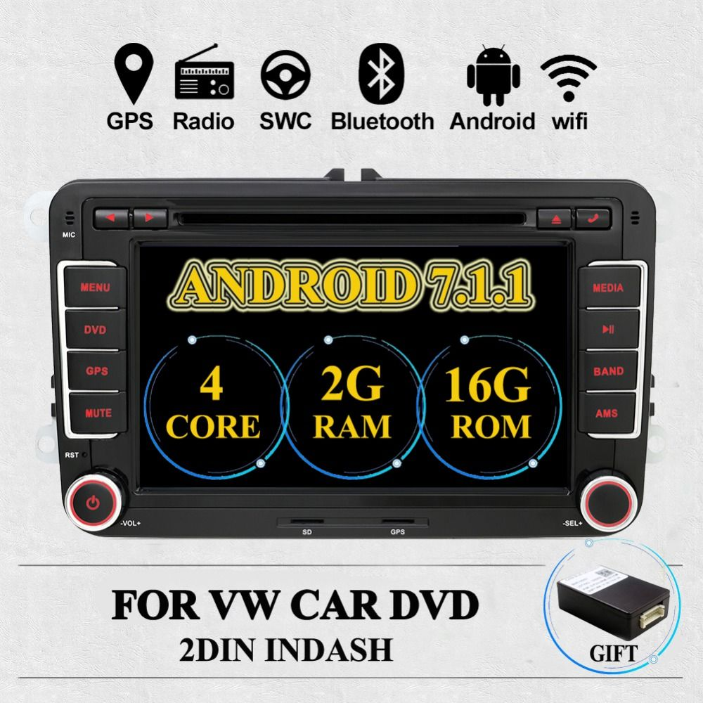 2Din Android 7.1 Car Audio Car DVD Player GPS Radio For VW GOLF 6 Polo Bora JETTA B6 PASSAT Tiguan SKODA OCTAVIA 3G OBD optional