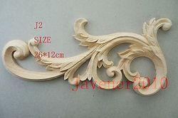 J2-26x12 см Деревянные Резные углу накладка аппликация Неокрашенный рама, дверь наклейка рабочих плотник украшения