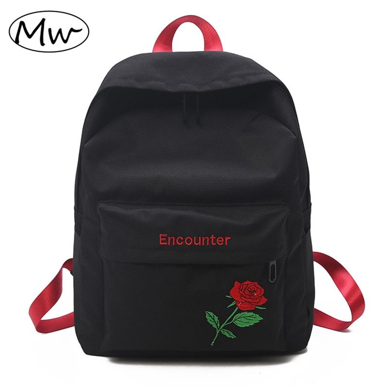 Moon Wood 2018 Designer Embroidery Rose Backpack Women daily Backpack School Bags For Teenage Girls Laptop Bag Travel Backpack