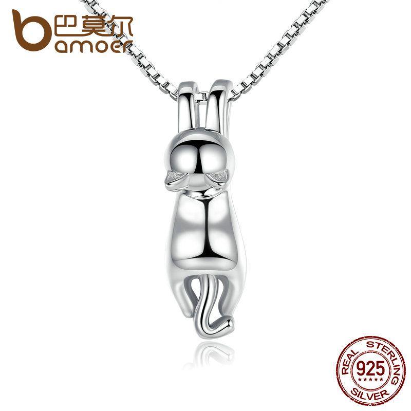 BAMOER Hohe Qualität Glatte 925 Sterling Silber Schöne Katze Lange Schwanz Halsketten & Anhänger S925 Feine Schmuck SCN032