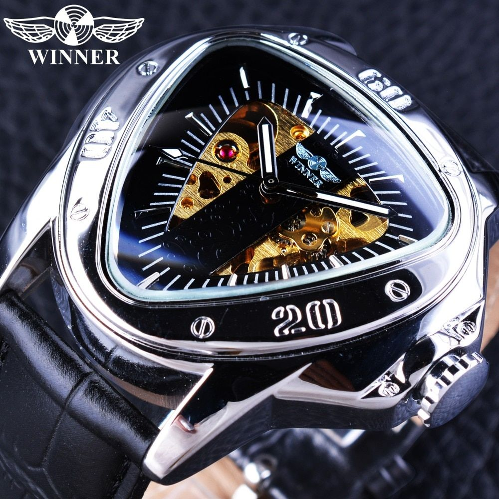Winner Clock Mechanical Men Watches 2017 Luxury Brand Automatic Self-wind Wristwatch Triangle Dial Design Golden Skeleton Watch