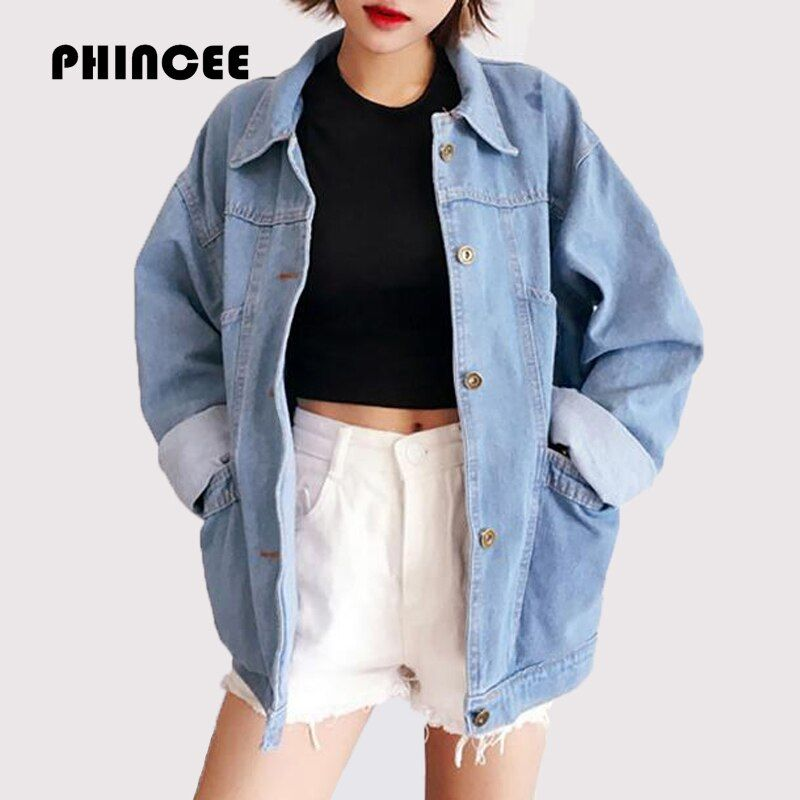 2017 Spring Autumn Jeans Jackets Womens Long Sleeve Casual Loose Coat Female Turn Down Collar Oversize Outwear Chaquetas <font><b>Mujer</b></font>