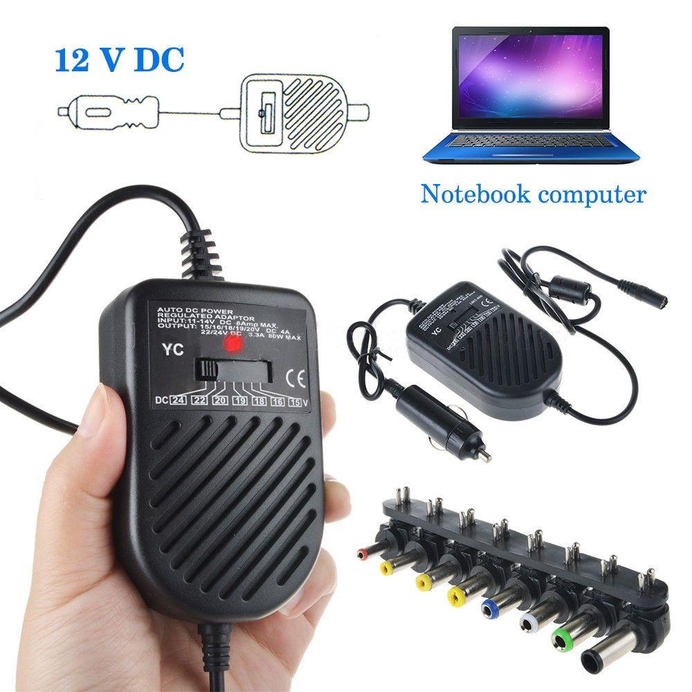 Universel 80W DC Port USB LED chargeur de voiture Auto adaptateur d'alimentation réglable ensemble 8 fiches détachables pour ordinateur portable
