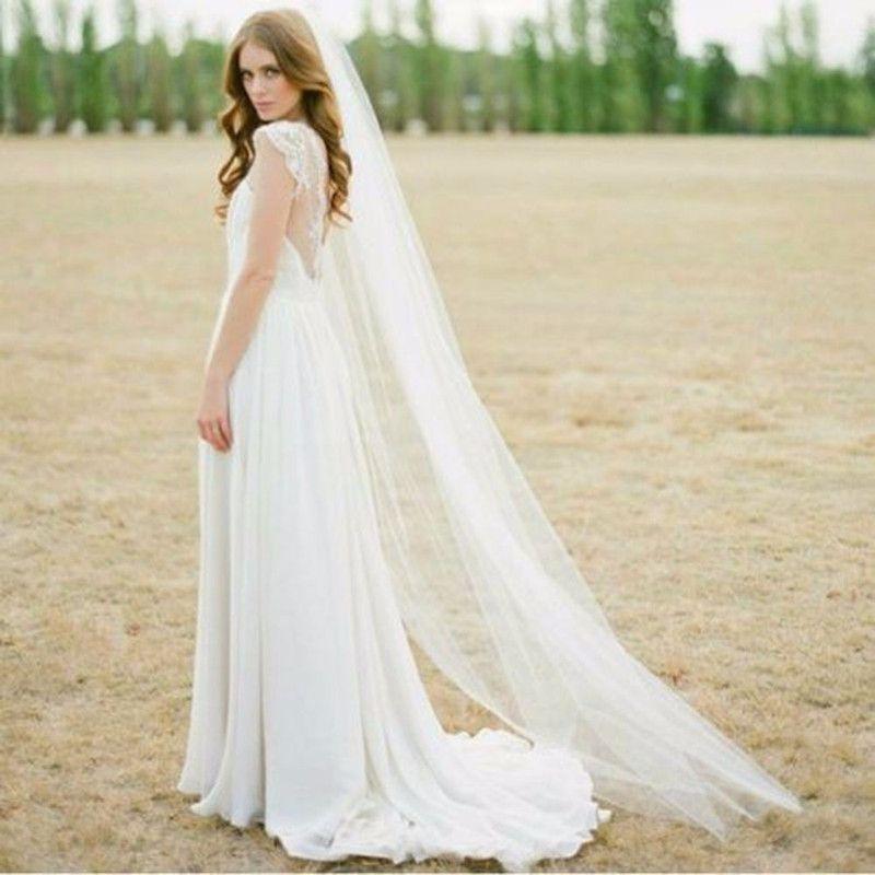2016 Cheap 2M Cut Edge White Long Bridal VeilsOne Layer Cheap Comb 1T Wedding Veils with Comb 2017