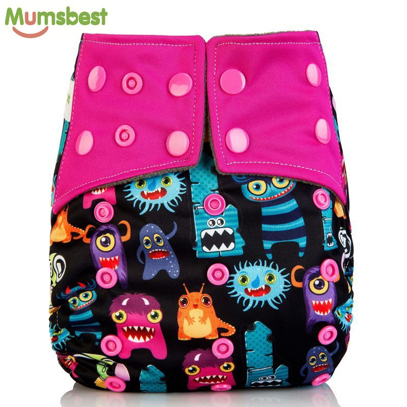 [Mumsbest] 100% Charcoal Bamboo Inner Baby Washable Cloth Nappy Reusable Pocket Diaper Suit 0-2 years 3-15kg