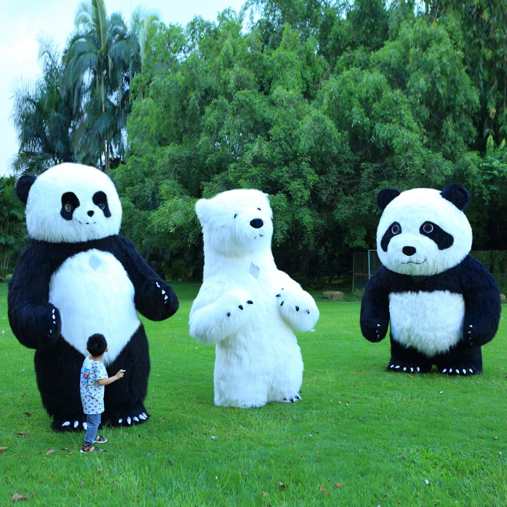 Panda Inflatable Costume Polar Bear Mascot Inflatable Costume Halloween Costumes For 3M Tall Suitable For 1.7m To 1.95m Adult