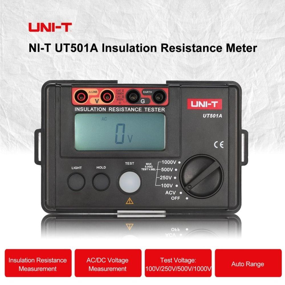 UNI-T UT501A Digital Insulation Resistance Meter Ground Tester Megohmmeter Voltmeter High Voltage Input Alarm Backlight 1000V