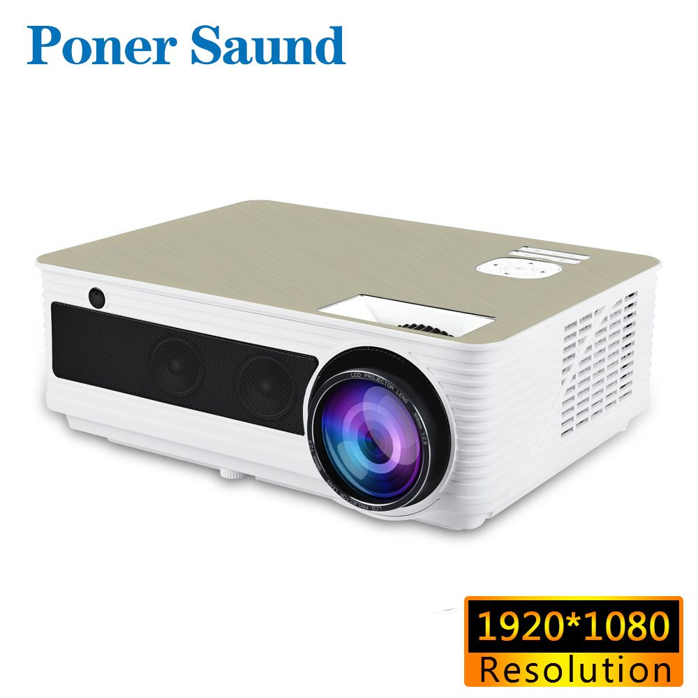 Poner Saund M5 1920*1080P Full HD Projector 200inch Screen Android 6.0 Beamer WiFi LED Projector HDMI USB VGA Port Speakers*2