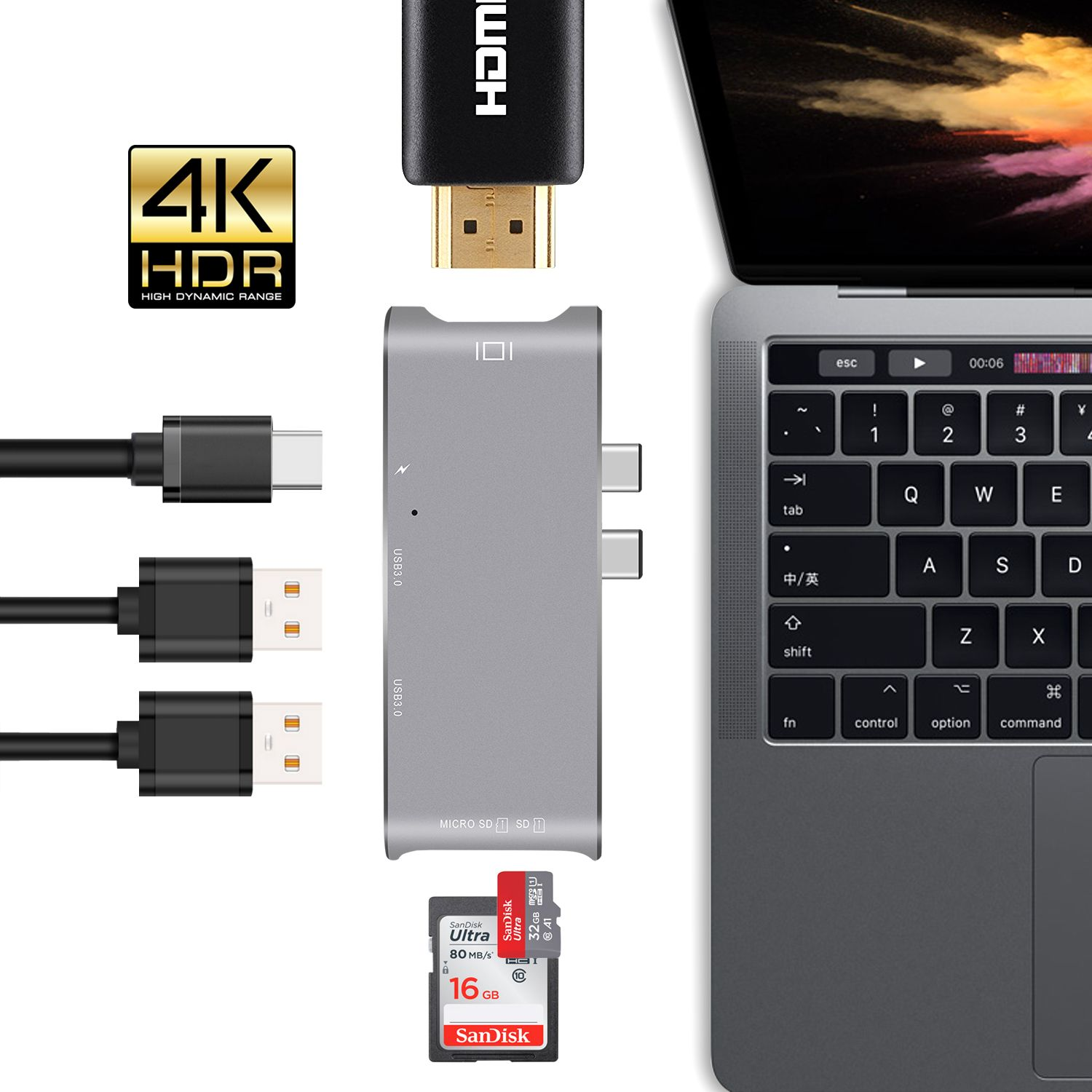 GOOJODOQ USB Type C HUB to HDMI 4k USB-C Adapter dongle dock with USB 3.0 ports Combo,SD slot Micro SD Card for MacBook Pro