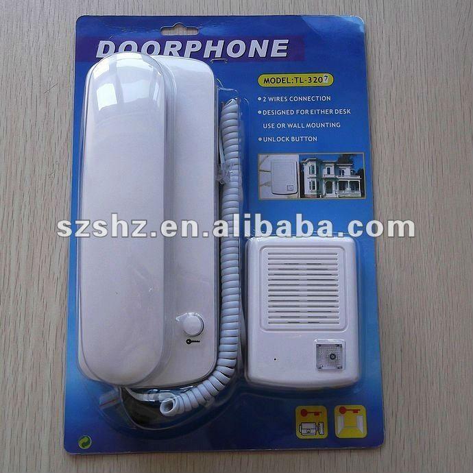 Envío libre 220 V precio barato con cable timbre de audio teléfono de la puerta sistema de intercomunicación de audio de alta calidad con función de desbloqueo