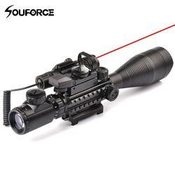 4-12X50EG Senapan + HD107 Micro Hologram Dual Diterangi Dot Sight + Merah/Hijau Laser Combo untuk Senapan Airsoft gun Sight