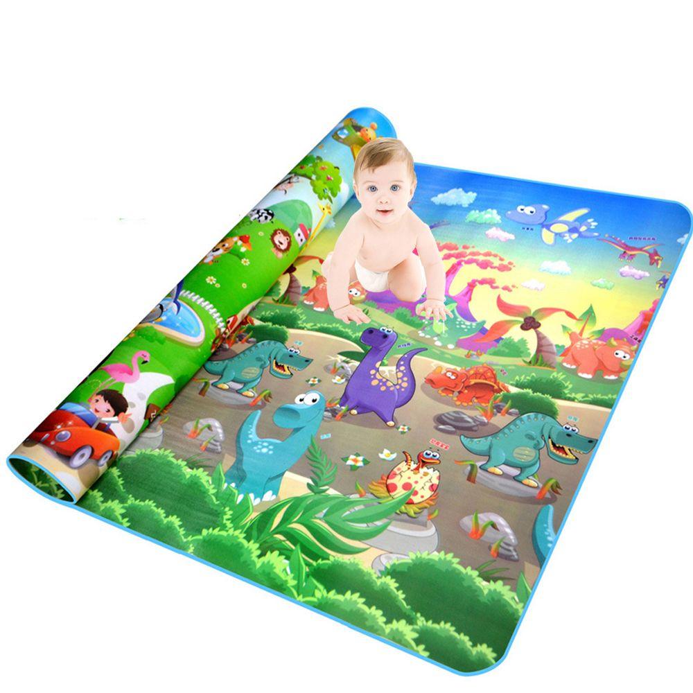 Baby Play Mat 200*180*0.5 cm Estera de Arrastre Doble Superficie Bebé Alfombra Alfombra Animales Coche + Dinosaurio desarrollo de la Estera para Los Niños Game Pad