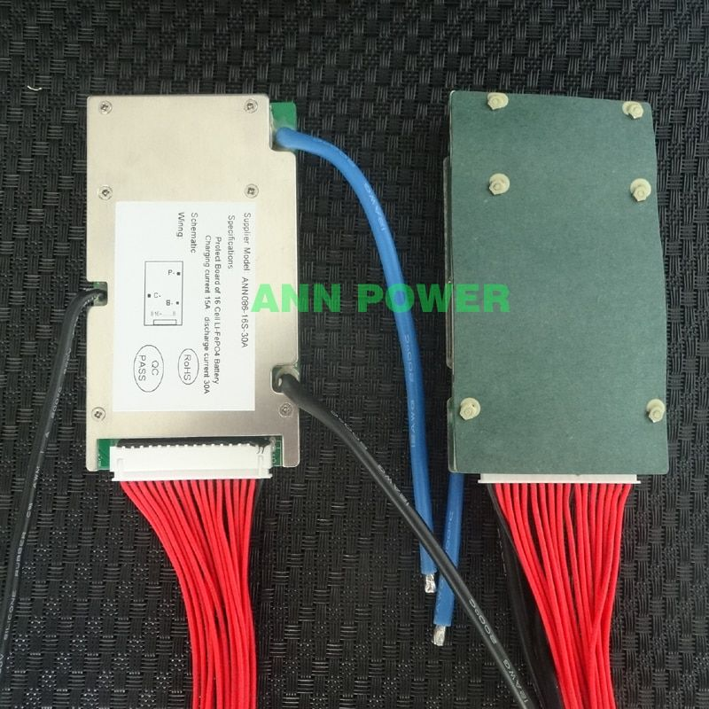 48V 30A LifePO4 battery BMS for 16S 3.2V lifepo4 cell 51.2V BMS/PCM Continuous working current 30A 1500W With balance function