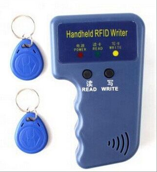 Handheld 125KHz EM4100 TK4100 RFID Copier Writer Duplicator Programmer Reader + 2pcs EM4305 T5577 Rewritable ID Keyfobs Tags
