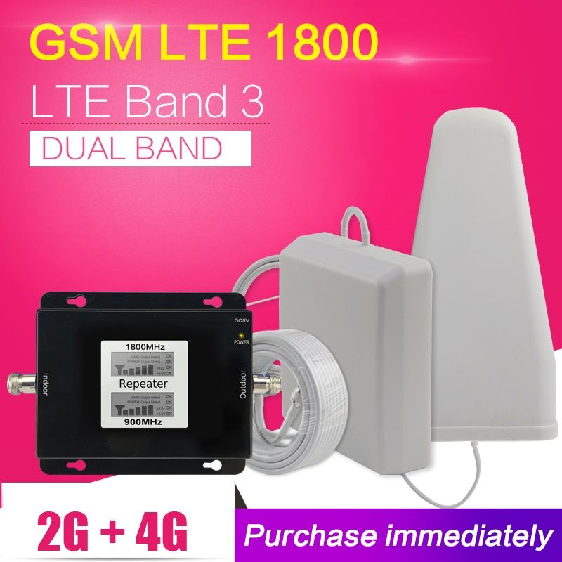 500 Square Meter 2G 4G GSM 900 LTE 1800 Dual Band Mobile Phone Signal Repeater GSM 4G LTE Cellular Booster Amplifier Antenna Set