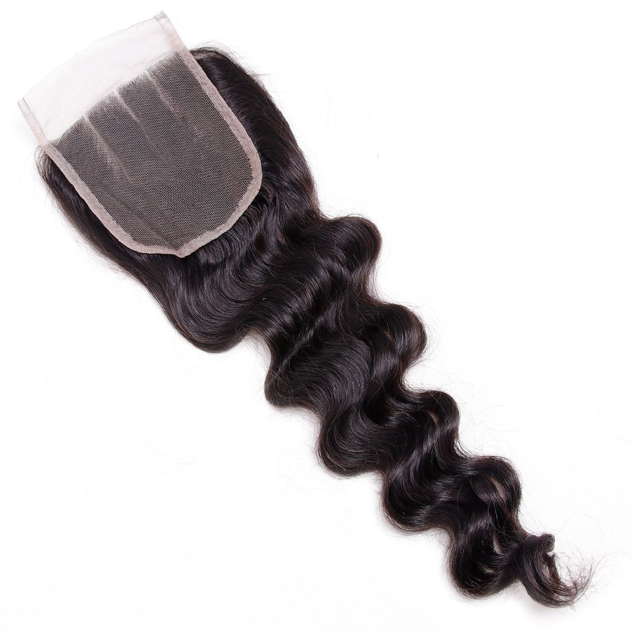2018 Limited Bling pelo Remy brasileño flojo salón encaje 4*4 color natural del pelo humano 10 a 22 cierre