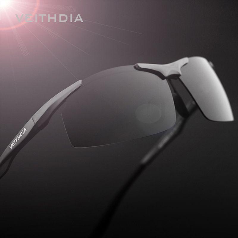 VEITHDIA Brand <font><b>Aluminum</b></font> Men's Polarized Sunglasses Rimless Rectangle Sun Glasses Male Eyewear Accessories For Men 6535