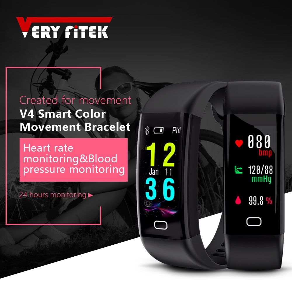 VERYFiTEK V4 Waterproof Smart Fitness Tracker Color Screen Heart Rate Monitor Watch Smart Wristband Bracelet for IOS Android