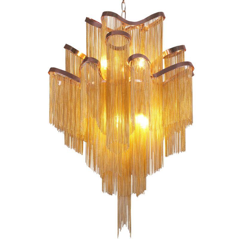 Moderne Luxus Silber Gold Aluminium kette mit fransen Anhänger Lampe Luxus Treppen Anhänger Hängen Licht für Home Hotel Dekoration