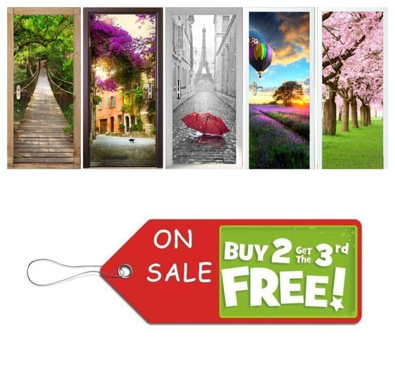 Vivid Home Creative DIY 3D Senery Door Stickers Telephone Booth Door Murals Decoration Large Sakura Saloon Wall Sticker Poster