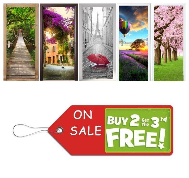 Vivid Home Creative DIY 3D Senery Door <font><b>Stickers</b></font> Telephone Booth Door Murals Decoration Large Sakura Saloon Wall <font><b>Sticker</b></font> Poster